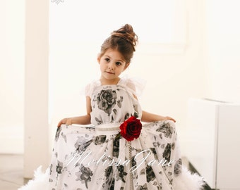 Sweet Roses Girls Feather Dress