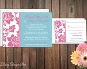 Wedding Invitation - Damask Border in Blue and Pink - Invitation and RSVP Card with Envelopes