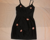 Vintage Betsey Johnson Luxe raw silk rosebud dress 1990s black 3D flower applique pink rose bandage bondage tight sexy fitted mini dress S