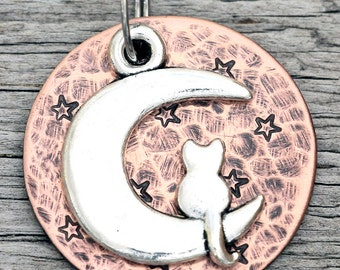 "Custom Cat Tag - Cat on the Moon - 1"" Copper Pet ID Tag - Hand Stamped Cat ID Tag"