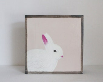 rabbit wall art- art block- bunny nursery decor- gender neutral nursery art- kids room decor- redtilestudio