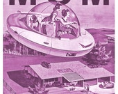 Mothers Day, Mothers Day Card, Funny Greeting Card, Space Age, Retro Card, Flying Car, Alternate Histories, Geekery