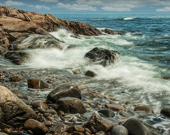 Waves crashing on the Rocky Shore by Acadia National Park on Mount Desert Island in Maine No.1313 - A Fine Art Seascape Photograph
