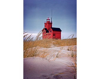 Big Red Lighthouse and Sand Dune Grass by Ottawa Beach State Park in Holland Michigan No.0216 - A Lighthouse Seascape Vertical Photograph