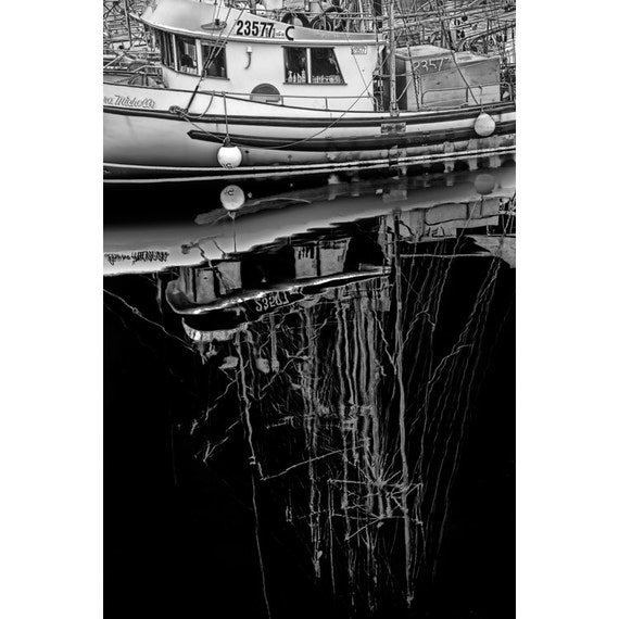 Tugboat Anchored in a Vancouver Island Harbor in British Columbia Canada No.1362BW2 A Black and White Fine Art Boat Seascape Photograph
