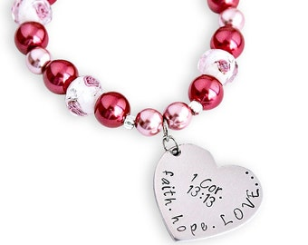 Faith Hope Love 1 Cor. 13:13 Scripture Hand stamped heart bracelet