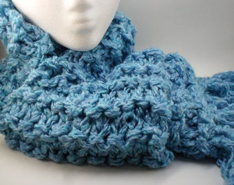 Double Knit Chunky Scarf in Ocean Tide - Blue Turquoise Waves Wavy
