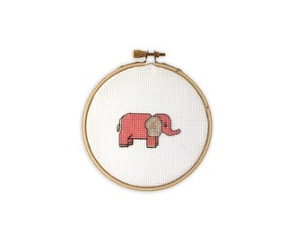 Elephant Cross Stitch (finished and framed in embroidery hoop)