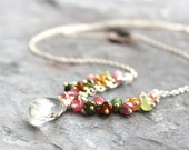 Tourmaline Necklace Crystal Quartz Multi Color Gemstone Necklace Sterling Silver beaded necklace