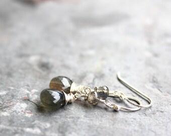 Labradorite Earrings Dangle Briolettes Sterling Silver Gray Stone Earrings