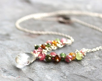 Tourmaline Necklace Crystal Quartz Multi Color Gemstone Necklace Sterling Silver beaded necklace