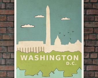 Washington D.C. // Nursery Art Children Decor Travel Illustration and Typographic Digital Art Poster Print Modern City Skyline Urban Chic