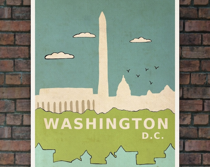 Washington D.C. // Nursery Art Children Decor Travel Illustration and Typographic Digital Art Poster Print Modern City Skyline Urban Chic