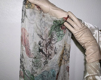 90s Silk angel cherubs long skinny scarf
