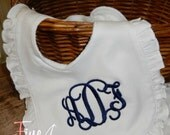 Monogram Ruffle Bib in White for Infant Baby Girl with Velcro Closure