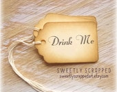 15 DRINK ME Tags ... Vintage look, Treat, Party Favor Tag, Labels, Script, Elegant