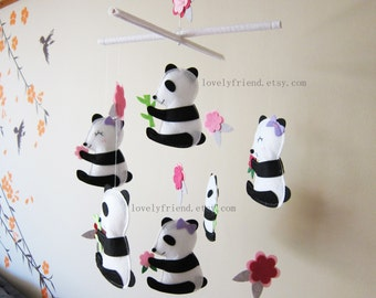 "Baby Crib Mobile - Baby Mobile - Black and White Baby Mobile - ""Six Little Pandas"" theme nursery mobile"
