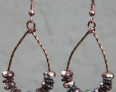Copper Beaded Hoop Earrings