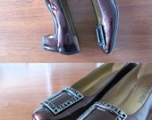 YSL leather heels - 80s vintage Yves Saint Laurent maroon oxblood brown metallic shiny pilgrim patent chunky buckle witch pumps size 8 shoes