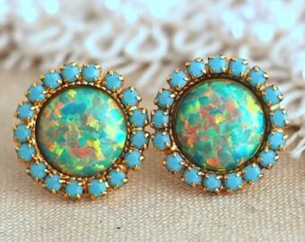 Opal Stud Earrings,Mint Opal stud earrings,Swarovski Turquoise Mint Opal earrings,Bridesmaids Opal earrings,Gift for woman,Crystal studs