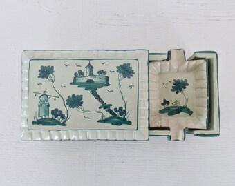 Vintage Cigarette Box and Four 4 Ashtrays Green White Ceramic Italy Firenze Vintage Mid Century Home Decor GallivantsVintage