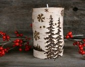 Winter Wonderland  -  Birch Tealight Holder - Wood burning
