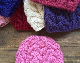 Adult Cable Knit Wool Hat - Bubble Gum Pink