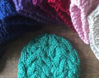 Children's Cozy Cable Knit Hat - Spearmint Green