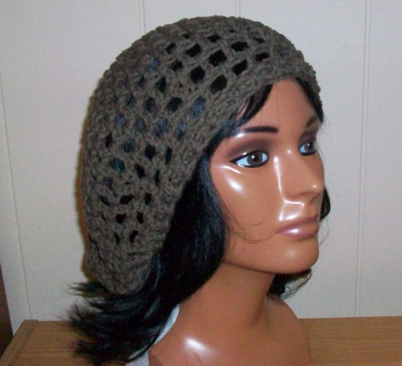 Crochet Hair Net Snood : Crochet Snood, Crochet Handmade Snood, Brown Cotton Hair Net with Draw ...