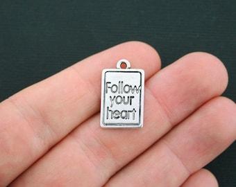 6 Follow Your Heart Charms Antique Silver Tone - SC657