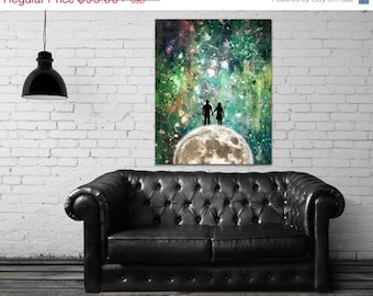 ON SALE 20% OFF Divenire - stretched canvas print, couple holding hands, green abstract moon print, large wall art, canvas art, love, romant