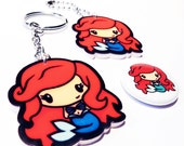 Mermaid Princess - Key Chain and Pin Badge