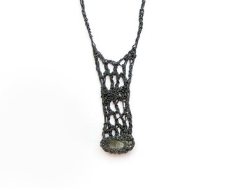 organic phantom quartz crochet drop necklace, 925k, handmade