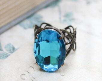 Aqua Blue Jewel Ring Big Glass Rhinestone Cocktail Ring Modern Statement Jewelry Gold Brass Adjustable Filigree Bridal Jewelry