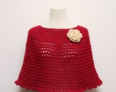 Hand Crocheted Poncho / Shawl in Red with Oatmeal Rose Brooch