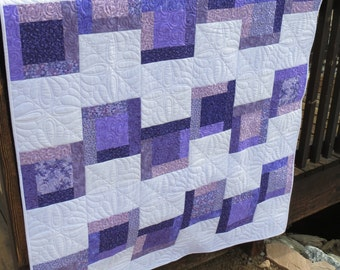 Lap Quilt for Purple Lovers Throw Blanket Purple and White