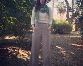 High waist wool trousers with wooden buttons
