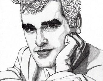 Morrissey 2 - Original Signed Paul Nelson-Esch Drawing Art pencil Illustration portraiture unique decor home smiths indie retro - Free S&H