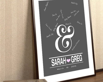 Ampersand Guest Book- Monogram Wedding Guest Book To Be Personalized With Guest's Signatures Wedding Guestbook Wedding Poster Wedding Gift