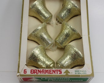 Vintage Bradford Gold Glitter Bells Plastic Christmas Ornaments Unbreakable Mid Century Retro Christmas Holiday Tree Decor