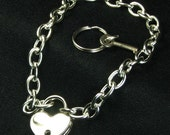 Real Padlock Necklace Locking Chain Heart Lock Choker day collar mature Bondage submissive jewelry