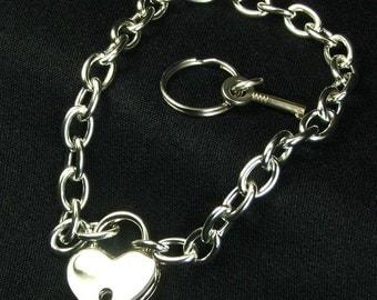 Real Padlock Necklace Locking Chain Heart Lock Choker day collar mature Bondage submissive jewelry