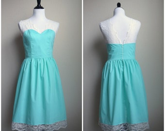 Lace Mint Dress Cotton Bridesmaid - other colors and custom size