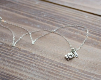 Camera Necklace - Sterling Silver - Hand Stamped Initial - Photography Necklace - Photographer Gift - Graduation Gift