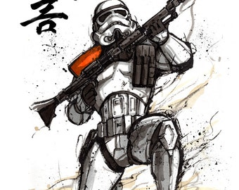 8x10 PRINT Star Wars Stormtrooper Japanese Calligraphy Warning or Police