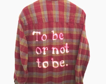 "Shakespeare Plaid Shirt, ""To be or not to be"". Hamlet flannel theatre student major English literature classic play hipster burgundy unisex"