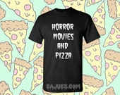 Black Horror Movies and Pizza T-Shirt in All Sizes