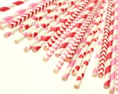 Valentines Day Mix Eco-friendly Paper Party Straws & Digital Flags - Made in the U S A - F D A approved - - Ships within 1 Business Day