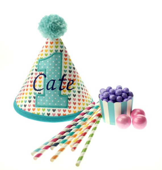 CUSTOM  Rainbow Heart Fabric Birthday Hat