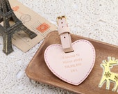 Personalized Leather Heart Shape Luggage Tag, with Monogrammed, wedding favor - Hand Stitched by Harlex